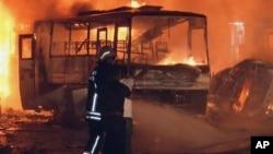 20일 터키 남동부의 가지안텝에서 일어난 차량 폭발 사고 현장.