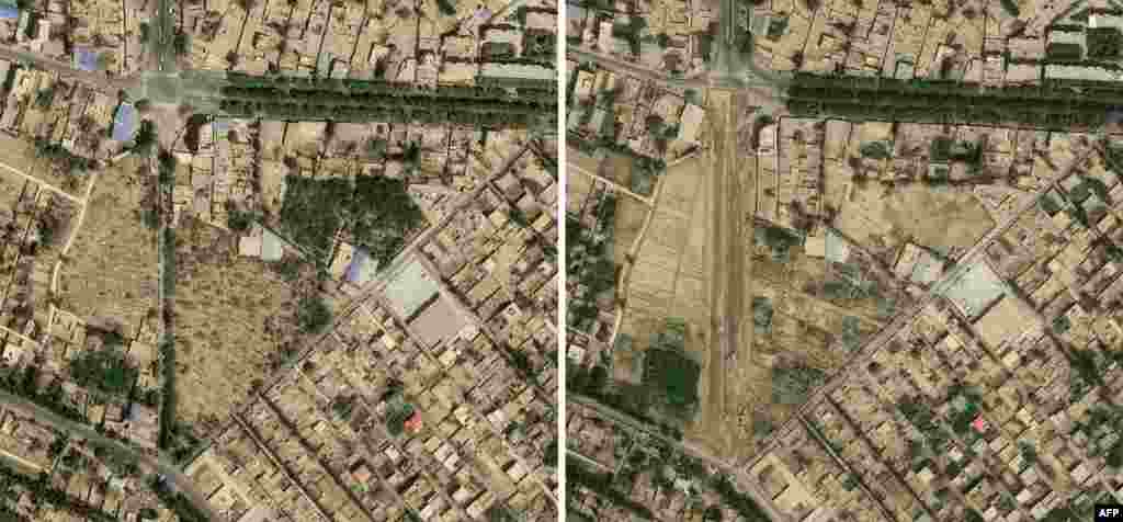 This combo of satellite images received on Sept. 30, 2019 from CNES 2019, distributed by Airbus DS and produced by Earthrise shows a picture from April 24, 2018 (top) of Teywizim cemetery (C) in Hotan, Xinjiang province and the same view on Aug. 6, 2019 with no sign of the facility. China is destroying burial grounds where generations of Uighur families have been laid to rest, leaving behind human bones and broken tombs in what activists call an effort to eradicate the ethnic group's identity in Xinjiang.