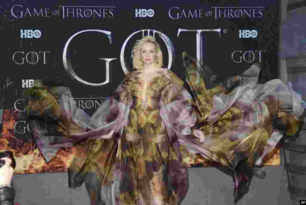 "Actress Gwendoline Christie attends HBO's ""Game of Thrones"" final season opening at Radio City Music Hall in New York, April 3, 2019."