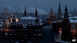 러시아 모스크바 크렘린궁 주변의 야경, (자료사진)