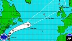 Predicted track of Hurricane Katia, Sep 7, 2011