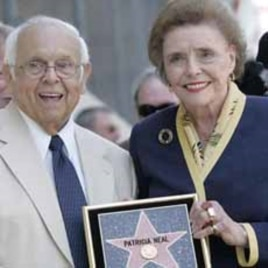 Patricia Neal holds a replica of her Hollywood Walk of Fame star that was installed on May 20, 2005