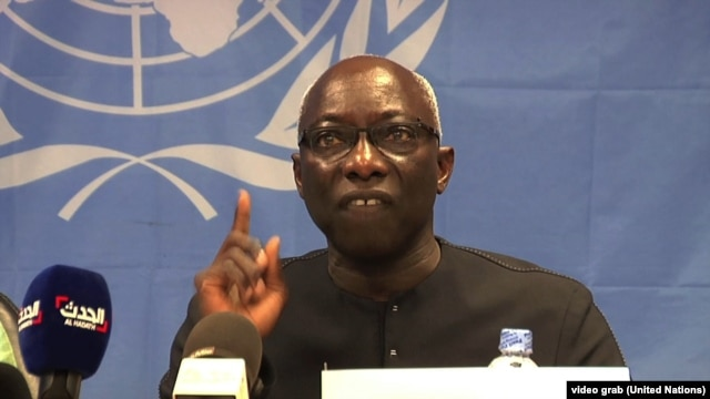 Adama Dieng, the special advisor to the UN Secretary General for the prevention of genocide, addresses a news conference in Juba, South Sudan, on Wednesday, April 30, 2014.