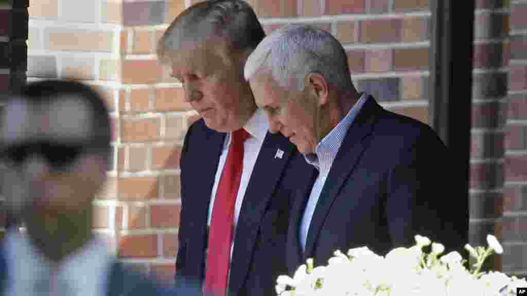 Donald Trump quitte la résidence du gouverneur de l'Indiana Mike Pence à Indianapolis, le 13 juillet, 2016.