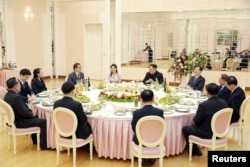A dinner is prepared for members of the special delegation of South Korea's President in this photo released by North Korea's Korean Central News Agency (KCNA) on March 6, 2018. KCNA/via Reuters