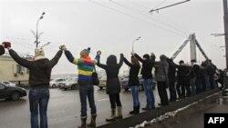 Живая цепь на Садовом кольце в Москве. 26 февраля 2012 г.