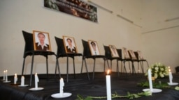 Ảnh của 7 nhân viên phi hành thiệt mạng được trưng bày tại hiệp hội phi công Ethiopian airline ở Addis Ababa, Ethiopia, ngày 11/3/2019.