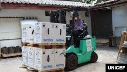 Vaccine Pfizer đến Vientiane, Lào, ngày 2/6/2021.