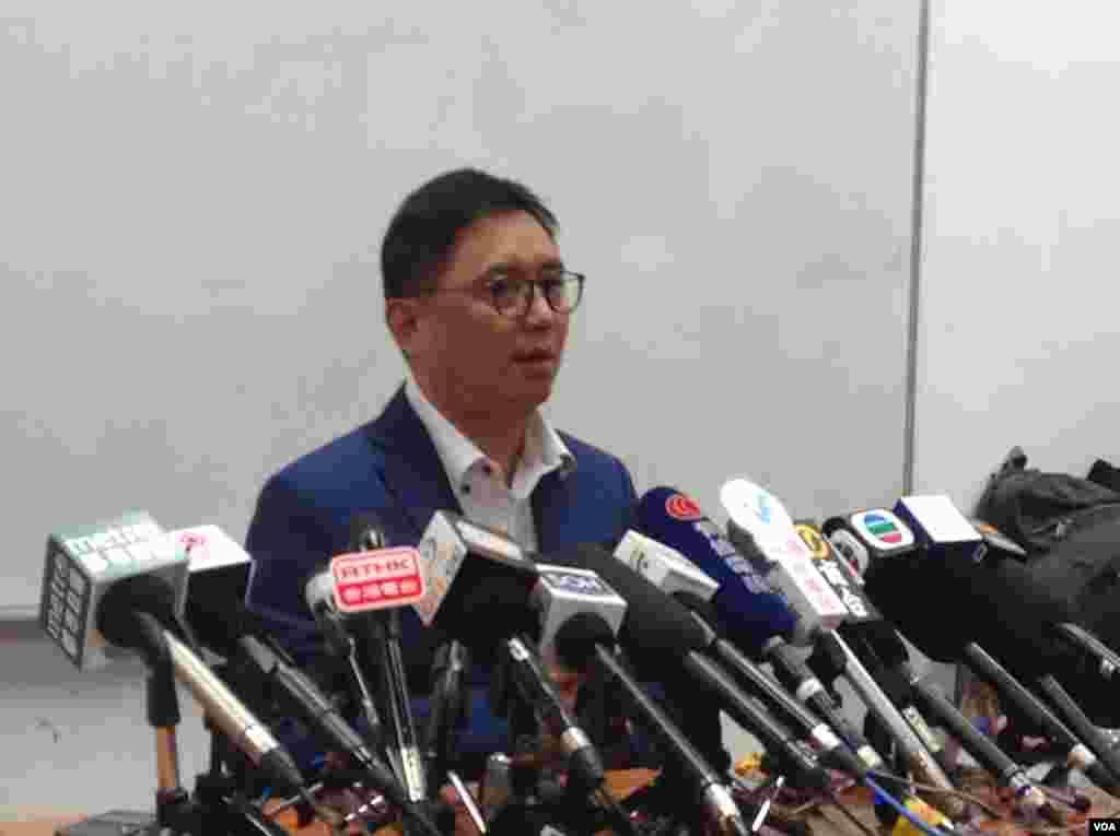 香港自由党周永勤揭受威胁弃选立法会内幕(美国之音海彦拍摄)
