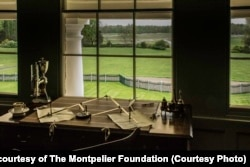 Madison's Desk and View of Lawn at Montpelier