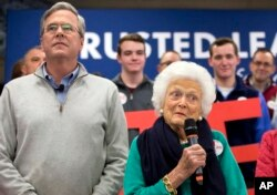 FILE - Barbara Bush, mother of Republican presidential candidate Jeb Bush, introduces her son at a town hall meeting in Derry, N.H., Feb. 4, 2016. The Republican campaign for the nomination because nasty early on, with multiple candidates hurling insults and disparaging remarks at one another and their critics. Mrs. Bush had recently complained that her son was too polite.