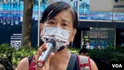 """社民連主席陳寶瑩表示,將來香港的學校及教育機構,談論六四事件都可能成為""""禁區"""" (美國之音湯惠芸)"""