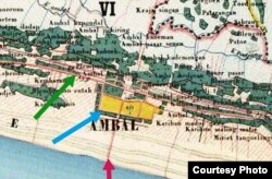 Peta Belanda menggambarkan Pansela di masa lalu (panah hijau), AD Daendels (panah biru), dan jalan menuju pantai (panah merah). (Foto courtesy: Ravie A)