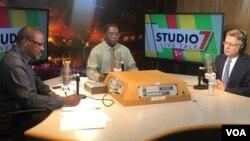Ambassador Matthew Harrington with Livetalk hosts Gibbs Dube and Jonga Kandemiiri.