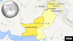 ແຜນທີ່ພາກພື້ນ Khyber ແລະ Baluchistan, ປະເທດ ປາກິສຖານ.