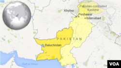 Peta wilayah Khyber dan Baluchistan, Pakistan.