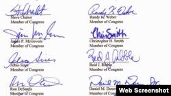 美国26议员致函习近平信件