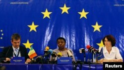 The head of the EU observer mission, Cecile Kyenge, talks during a news conference about the presidential election in Bamako, Mali, July 31, 2018.