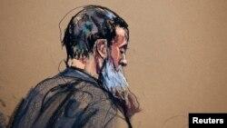 Sketsa gambar tersangka teroris Libya, Abu Anas al-Libi saat hadir di pengadilan di New York (15/10).
