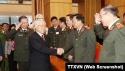 Tổng Bí thư Nguyễn Phú Trọng tham dự Hội nghị Công an toàn quốc vào ngày 15/1/2018.