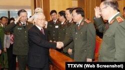 Tổng Bí thư Nguyễn Phú Trọng dự Hội nghị Công an toàn quốc lần thứ 73 hồi tháng Một năm nay.