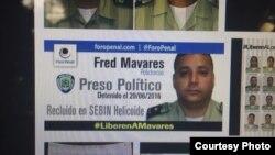 """Fred Mavares, uno de los """"presos políticos"""" en Venezuela."""