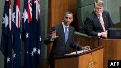 Барак Обама выступает в парламенте Австралии. 17 ноября 2011г.