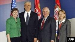 Predsednik Tadić sastao se sa senatorima SAD Benom Kardinom i Džin Šahin, koji učestvuju na godišnjem zasedanju skupštine OEBS-a u Beogradu.