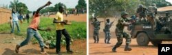 (L) Angry crowds throw stones at FOMAC regional peacekeepers. (R) ,FOMAC regional peacekeepers, fire their guns as they evacuate Muslim clerics from Bangui's St Jacques Church, Central African Republic, Dec. 12, 2013.