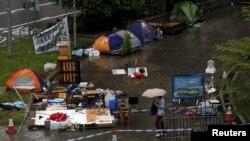 Lều trại của người biểu tình sắp bị dỡ bỏ bên ngoài trụ sở chính phủ ở Hồng Kông, ngày 24/6/2015.