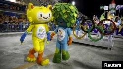 Olympic mascots are seen at the Sambadrome in Rio de Janeiro's Sambadrome, Feb. 7, 2016.