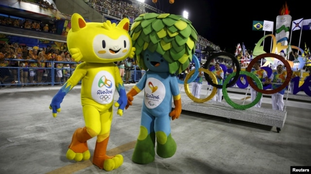 Olympic mascots are seen at the Sambadrome in Rio de Janeiro's Sambadrome, Feb. 7, 2016.