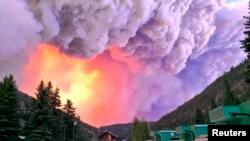2013年6月20日美国科罗拉多州的一个公园发生森林大火的图片。