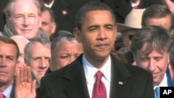 Barack Obama getting sworn into office, 20 Jan 2009