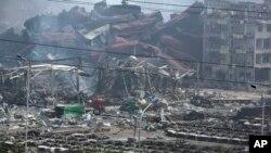 中国天津滨海新区开发区集装箱码头8.12大爆炸现场
