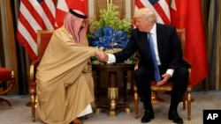 U.S. President Donald Trump, right, holds a bilateral meeting with Bahrain's King Hamad bin Isa Al Khalifa, Sunday, May 21, 2017, in Riyadh. (AP Photo/Evan Vucci)