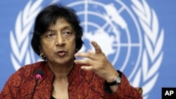 High Commissioner for Human Rights South African Navanethem Pillay gestures during a press conference at the European headquarters of the United Nations in Geneva (File)