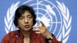 U.N. High Commissioner for Human Rights South African Navanethem Pillay gestures during a press conference at the European headquarters of the United Nations in Geneva (file)