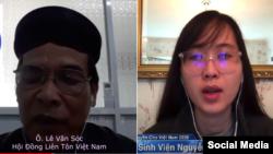 Ông Lê Văn Sóc, bà Nguyễn Phương Uyên phát biểu trong sự kiện Ngày Nhân quyền cho Việt Nam 11/05/2020. Photo Vietnam Human Rights Day via YouTube.