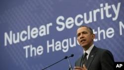 Barack Obama s'exprimant à La Haye mardi
