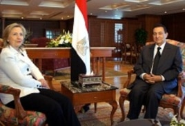 US Secretary of State Hillary Clinton meets with Egyptian President Hosni Mubarak in Sharm el Sheikh, 14 Sept 2010.