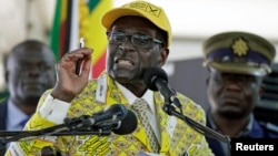 Zimbabwe's President Robert Mugabe addresses supporters at the elective congress in Harare, Zimbabwe, Dec. 4, 2014.