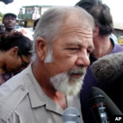 Eugene Terreblanche at start of his 2001 assault trial. He was convicted and served 3 years of a 6 year sentence for assaulting a black security guard