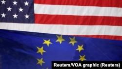 Zastave Sjedinjenih Država i Evropske unije (Reuters/VOA graphic)