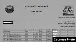 ڈی ایچ اے ویلی اسلام آباد کےپلاٹ کے لیے وصول کی گئی رقم کا ریکارڈ