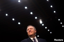 Representative Mike Pompeo (R-KS) arrives to testify before a Senate Intelligence hearing on his nomination of to be become director of the CIA at Capitol Hill in Washington, Jan. 12, 2017.