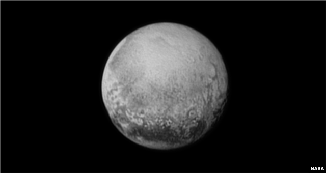 Pluto as seen from New Horizons on July 11, 2015. The unmanned spacecraft will zip past Pluto at 30,800 miles per hour (49,600 kilometers per hour), with a suite of seven science instruments busily gathering data. (Image Credit: NASA/JHUAPL/SWRI)