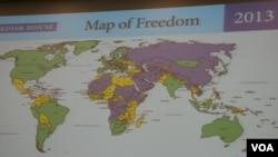 2013 世界自由图:绿色为自由地区,黄色为部分自由地区,紫色为不自由地区(美国之音钟辰芳拍摄)