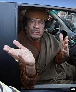 Mouammar Khadafi (photo prise en avril 2011 à Tripoli)