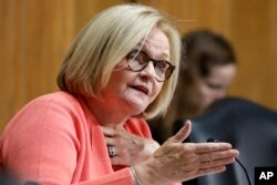 FILE - Sen. Claire McCaskill, D-Mo., asks a question during a Senate Finance Committee hearing in Washington, June 20, 2018.